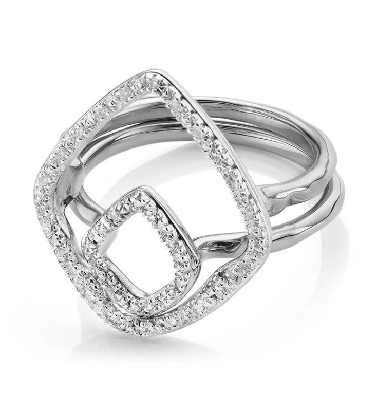 A silver ring set.