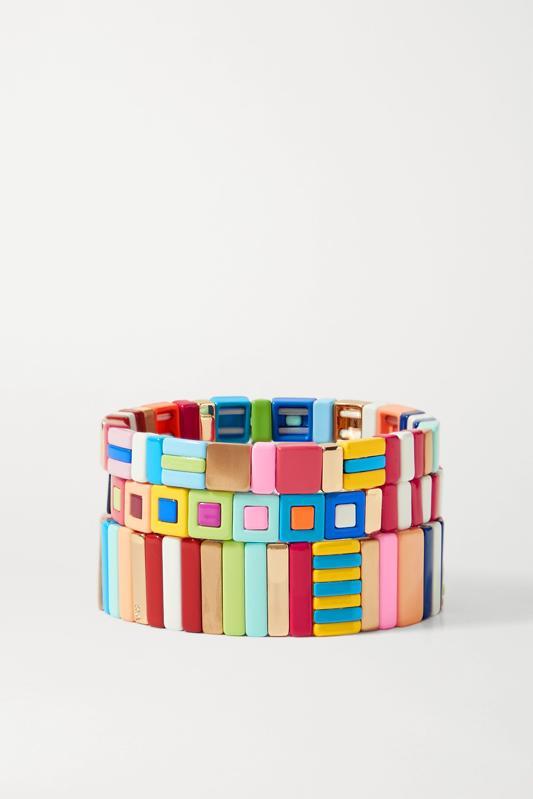 A set of three colorful Roxanne Assoulin beaded bracelets.
