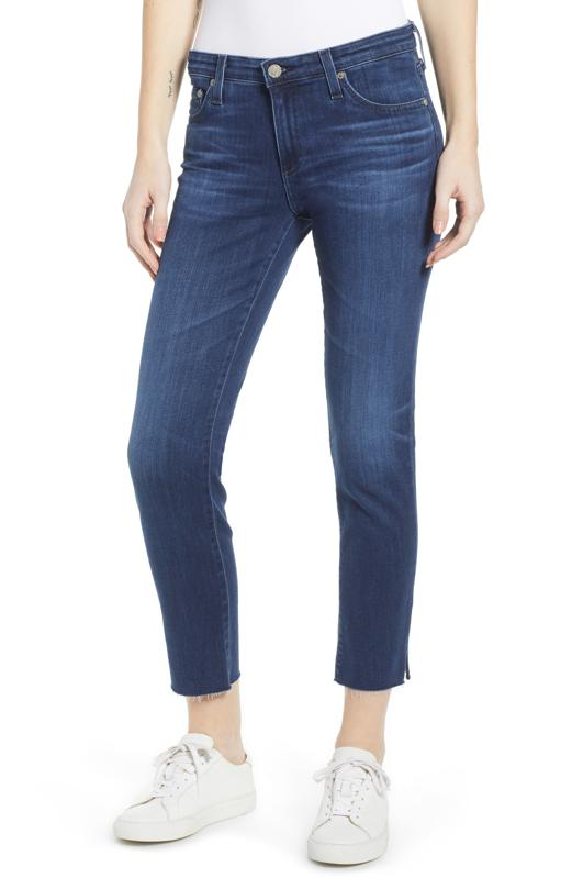 AG The Prima Mid Rise Raw Hem Crop Cigarette Jeans (05 Year Blue Essence)