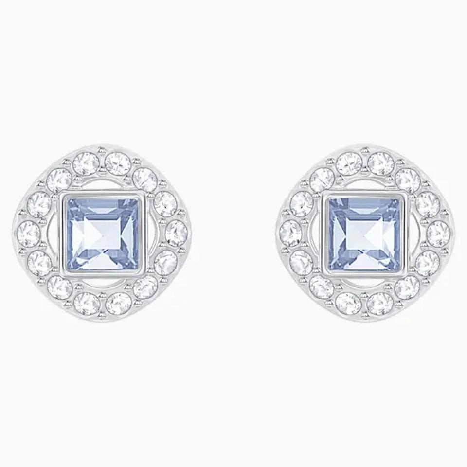 Silver earrings with blue diamond center.