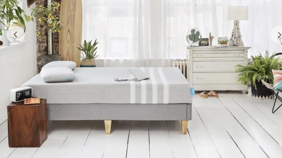 Leesa mattress set up in a bedroom on wooden floor