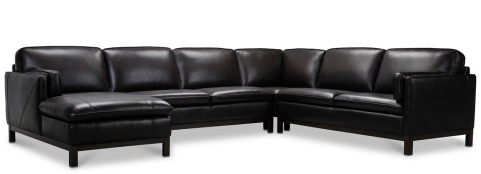 Virton 136″ 4-Pc. Leather Chaise Sectional Sofa, Created for Macy's