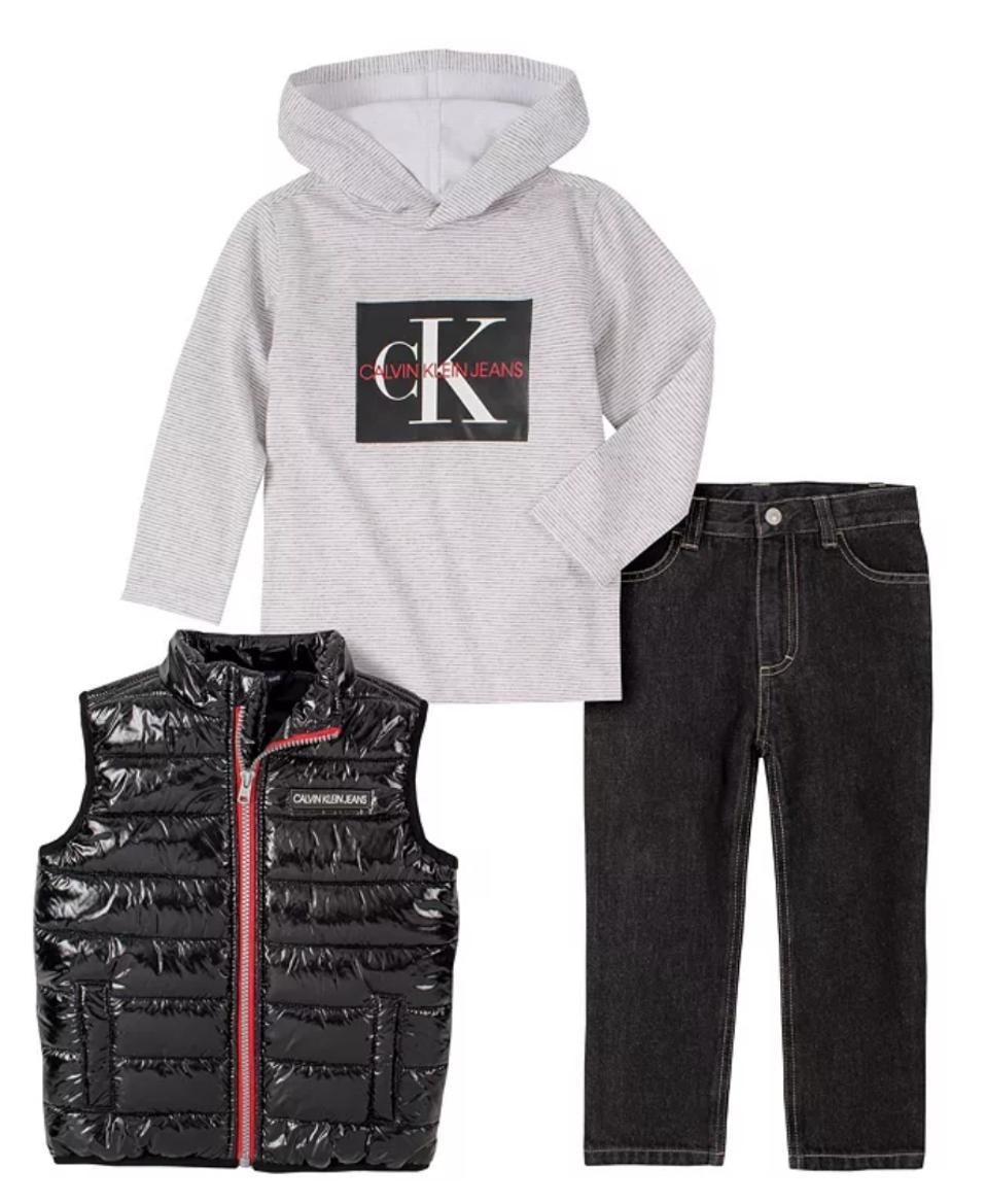 Calvin Klein Jean Little Boys Vest, Stripe Knit Top and Denim Pant 3 Piece Set