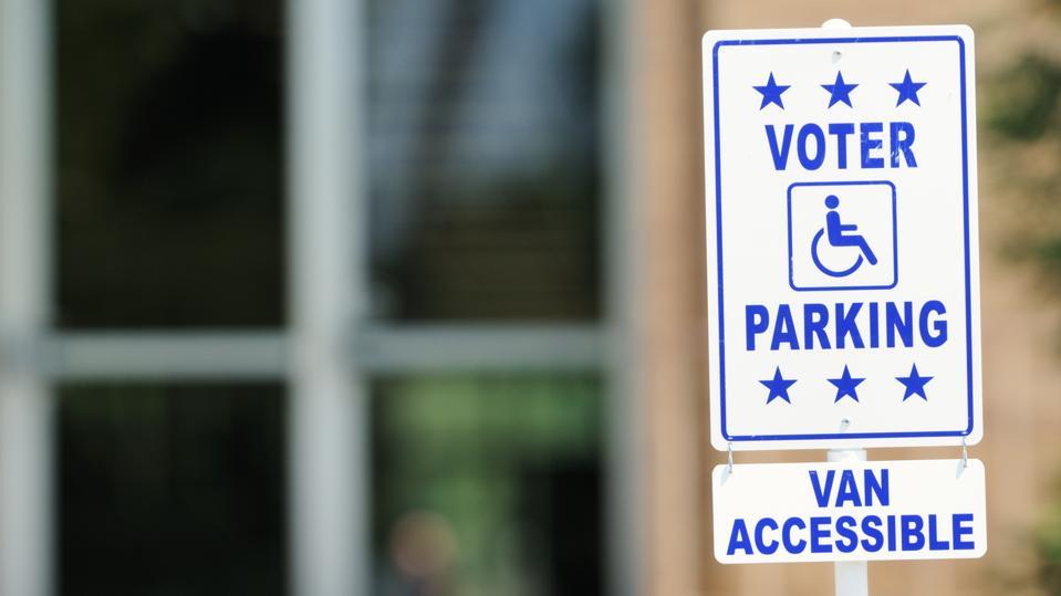 Voter parking van accessible sign