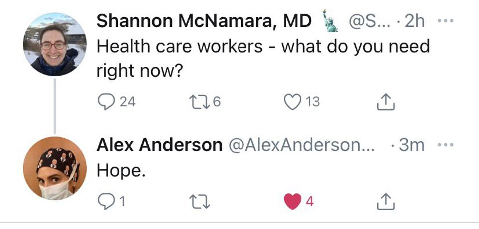 Twitter conversation between Shannon McNamara, MD and Alex Anderson, MD