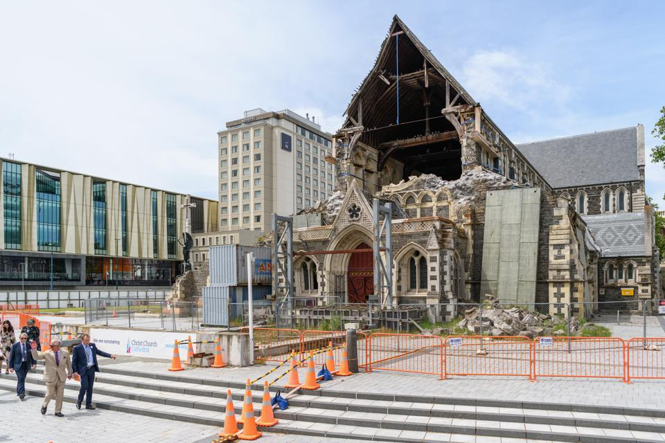 Christchurch Cathedral, a striking reminder of the forces of nature in the city center.