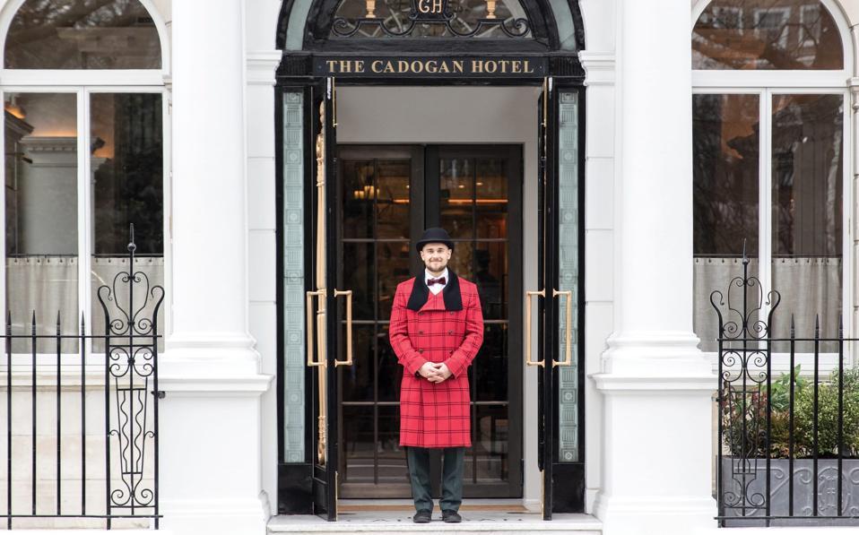 Doorman outside a hotel in London