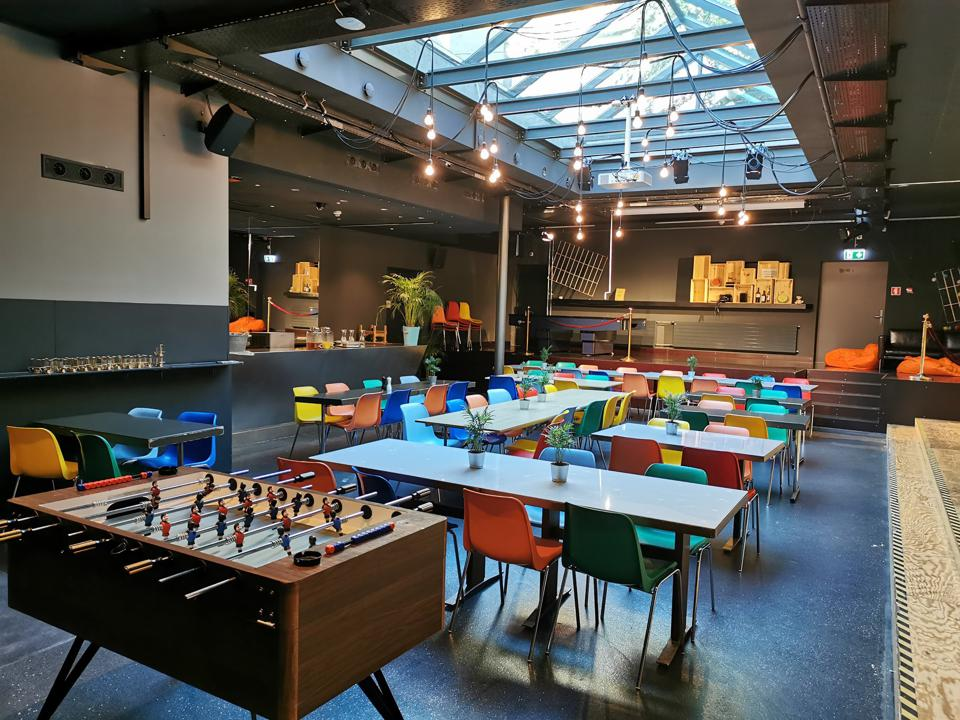 Enjoy dinner, socializing or playing Foosball in the common room at The Barabas Hotel.