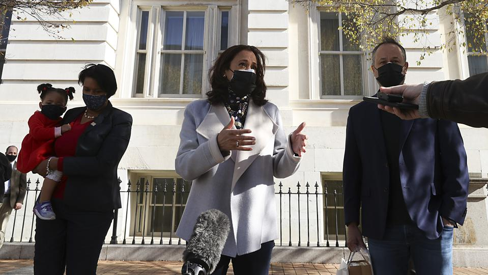 Vice President-Elect Kamala Harris Visits Christmas Market In Washington DC