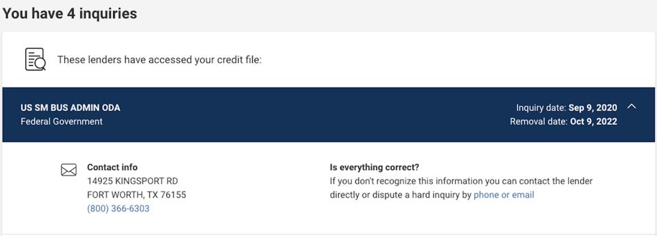 Hard inquiry on Experian credit report