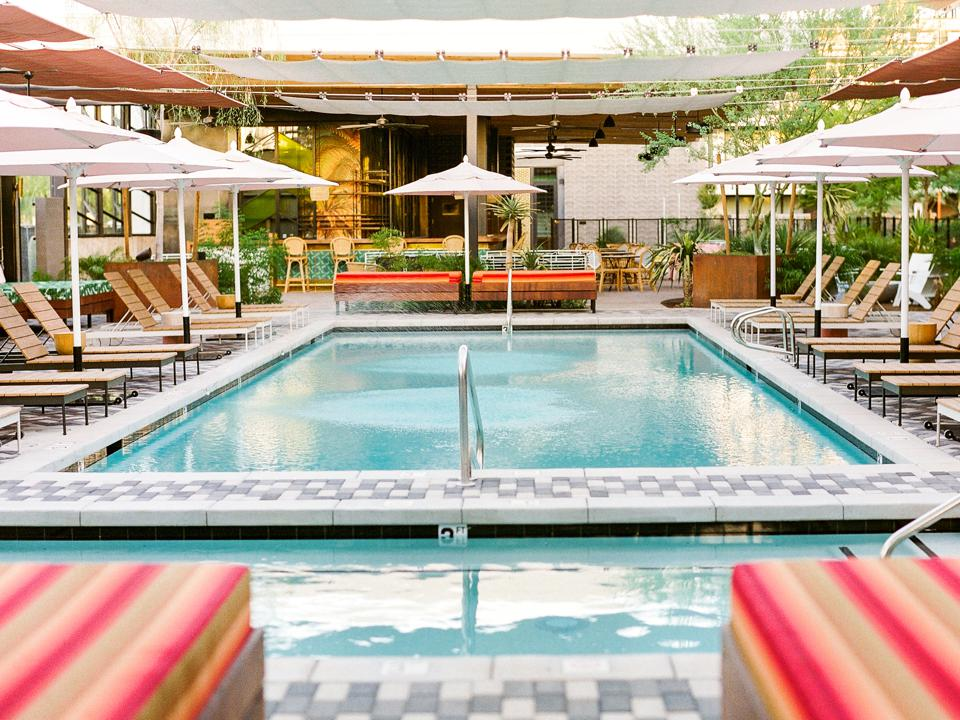 hotel pool and daybeds