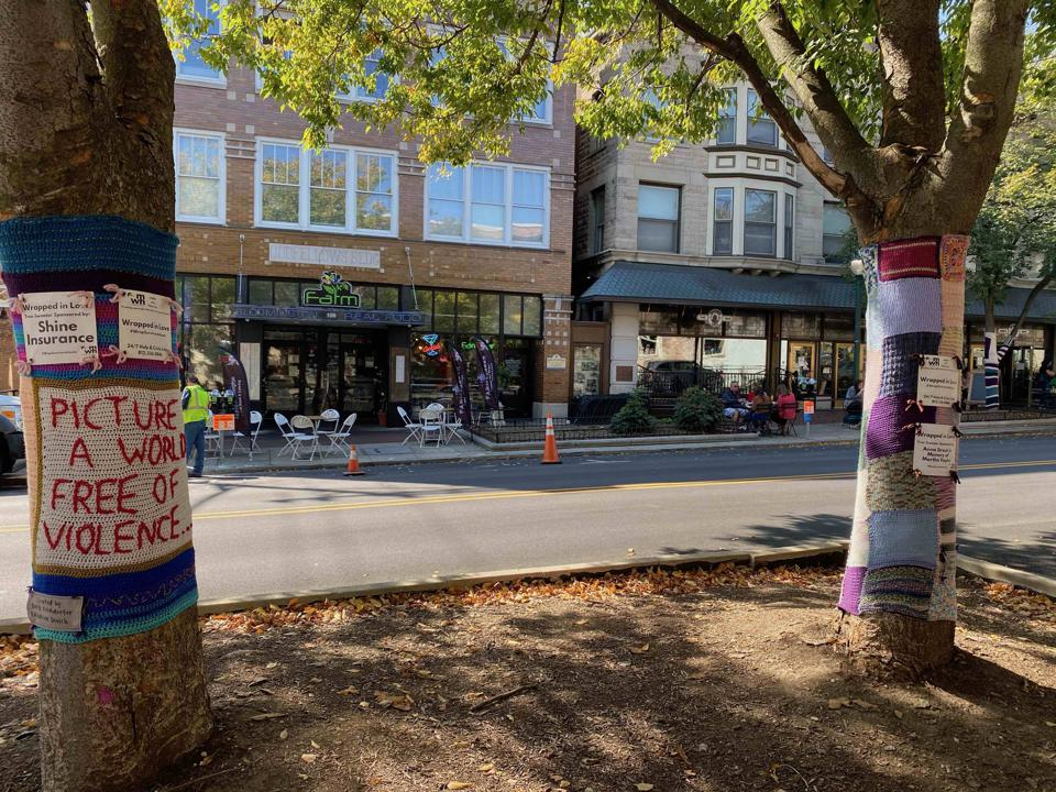 Tree sweaters on Kirkwood Avenue
