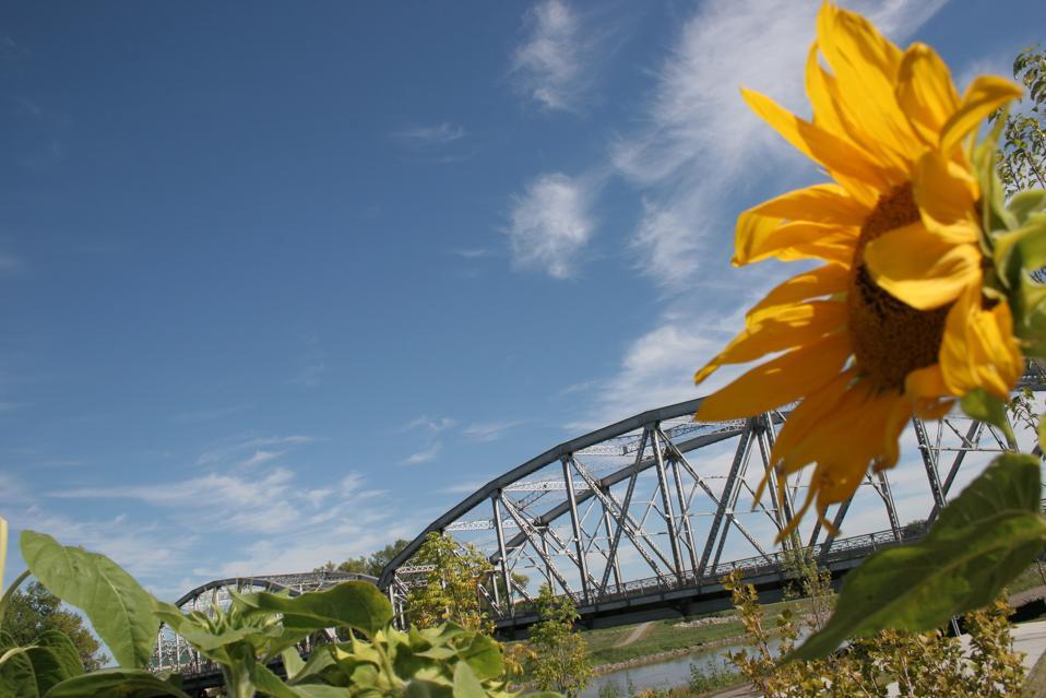 The Red River Bridge in Grand Forks, South Dakota.