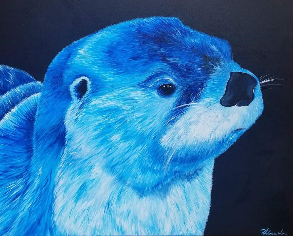 A painting of an otter