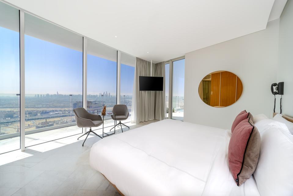 Bedroom views from the FIVE Jumeriah Village Hotel