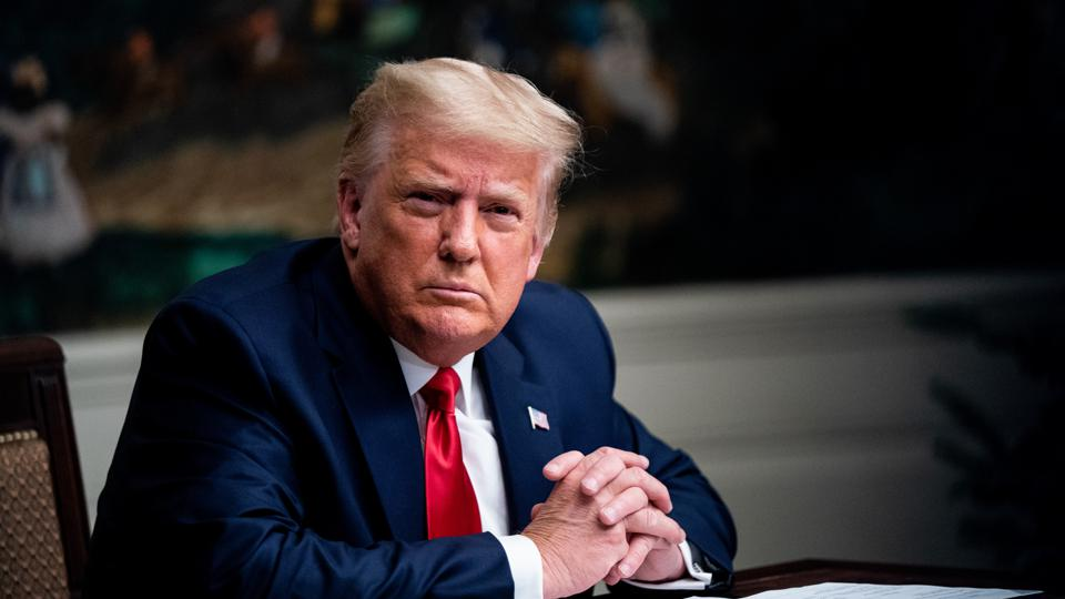 President Trump Participates In Thanksgiving Video Teleconference With Military Members