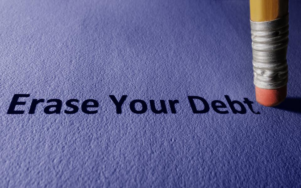 Pencil with Erase Your Debt text on paper