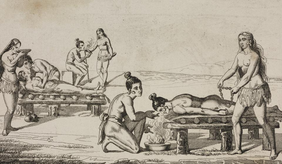 Natives treating the sick, engraving by Vernier