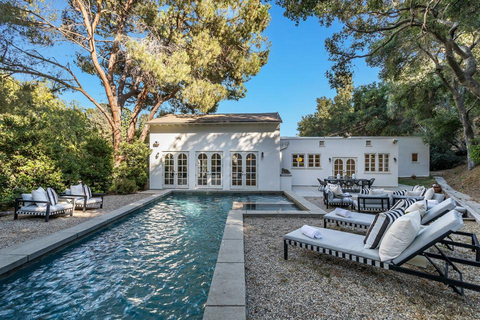 The backyard and pool of a home in Los Feliz.