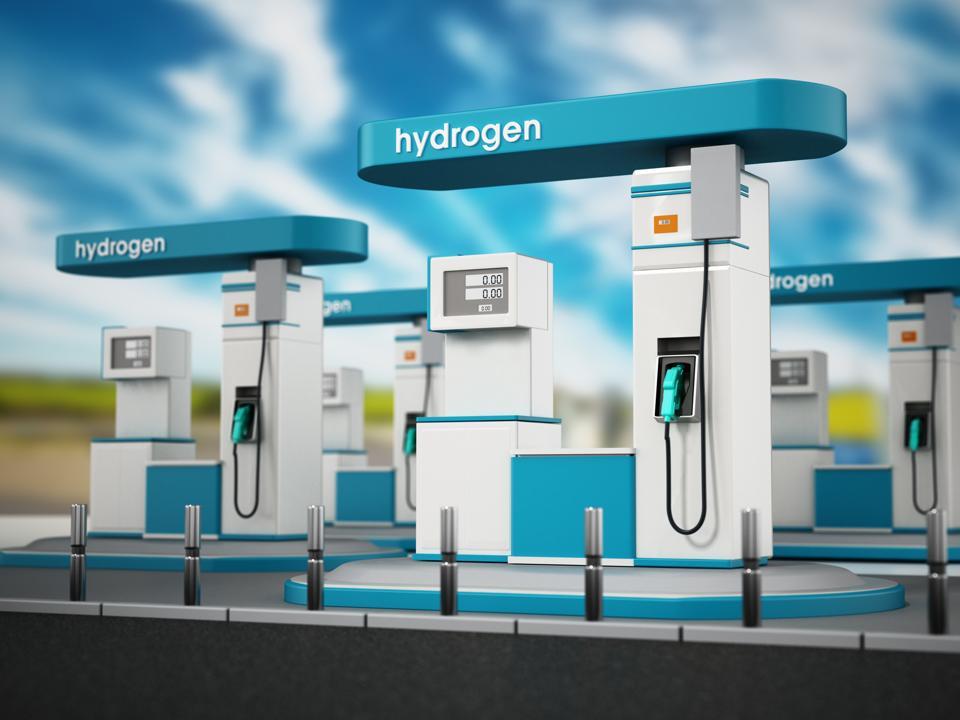 Generic hydrogen refuelling station against blue background