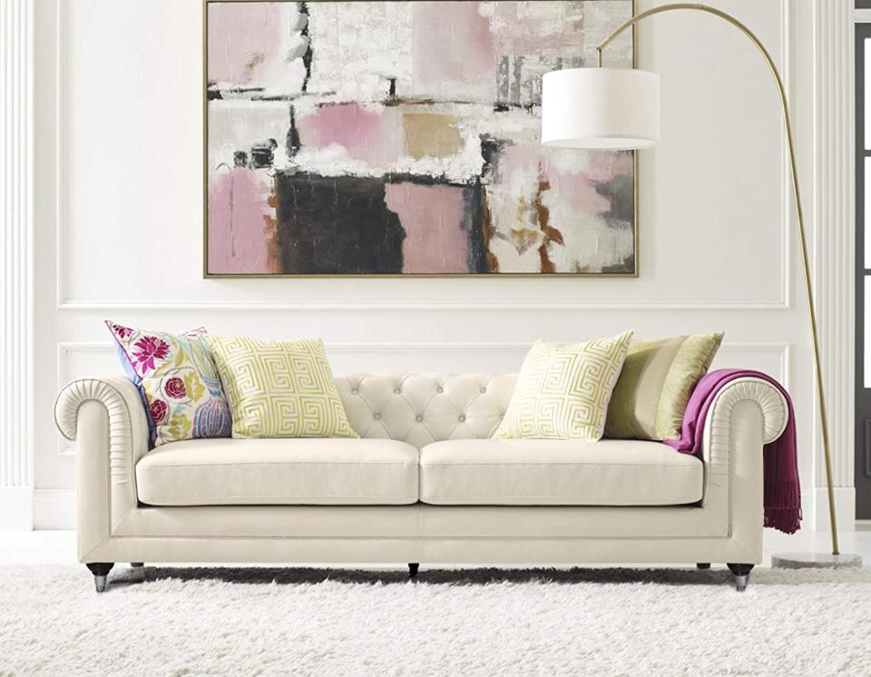 Elle Decor Amery Chesterfield Tufted Sofa in Ivory