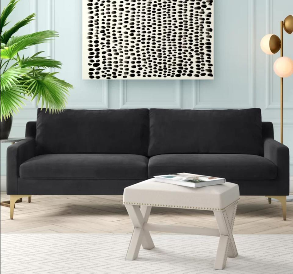 Ryan Velvet 85.82″ Square Arm Sofa