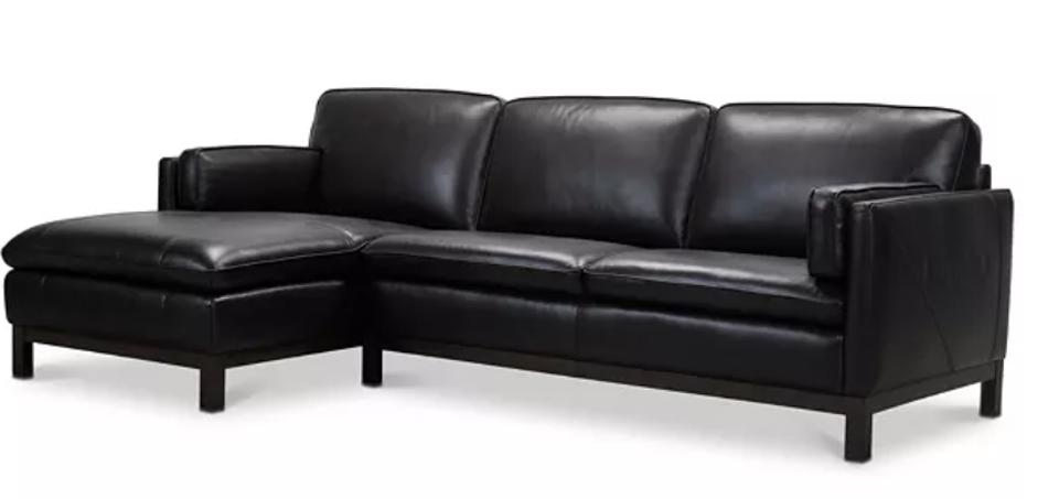 Virton 2-Pc. Leather Chaise Sectional Sofa, Created for Macy's