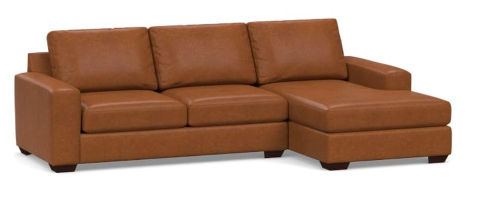 Big Sur Square Arm Leather Sofa Chaise Sectional