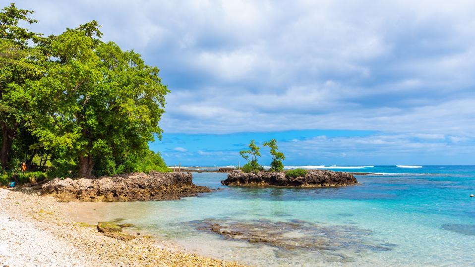 Seascape view in sunny weather, Tanna Island, Vanuatu.