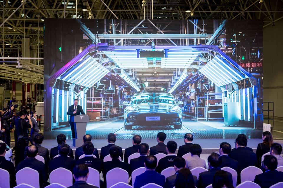 Jan. 7, 2020 - Tesla CEO Elon Musk speaks at a delivery ceremony for Tesla China-made Model 3 in Shanghai, China. U.S. electric carmaker Tesla officially launched its China-made Model Y program in its Shanghai Gigafactory.