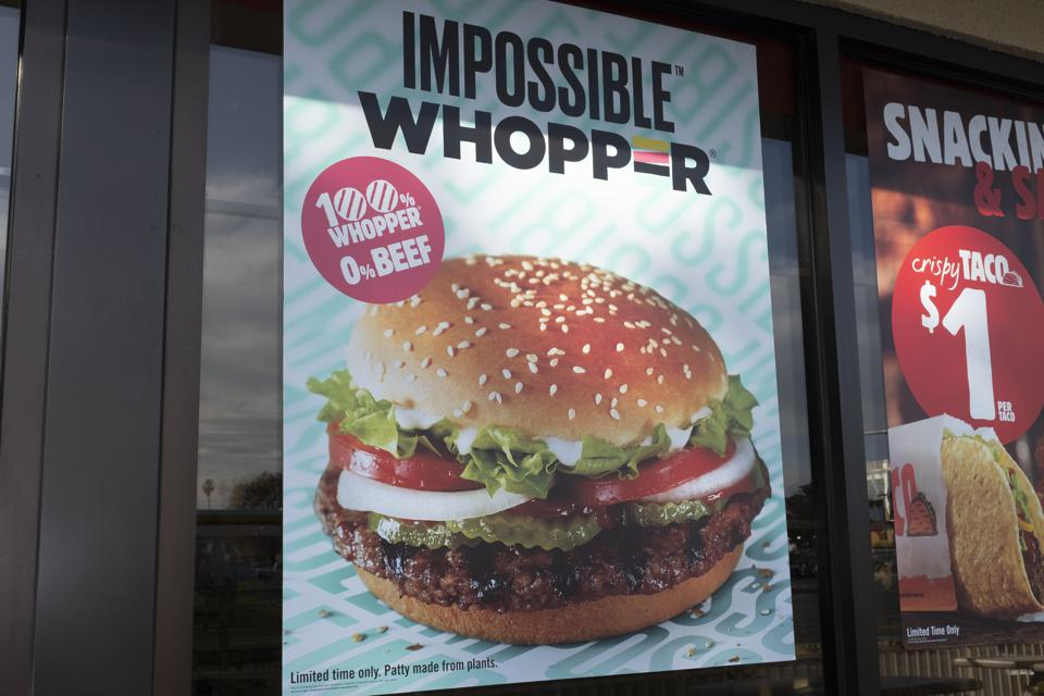 Burger King's vegan Impossible Whopper burger is seen in a store in Sunnyvale, California, United States in 2019 - a sight unthinkable just a few years ago.