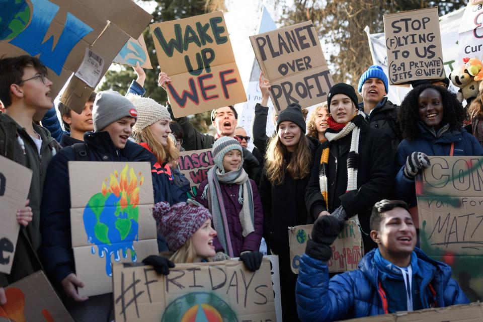 24 Jan 2020: Protests outside the World Economic Forum in Davos, over claims of greenwashing progress on the environment.