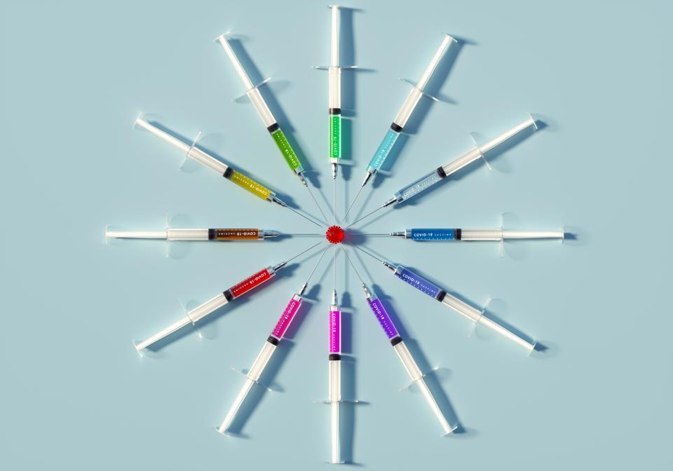Syringes arranged to resemble Coronavirus.