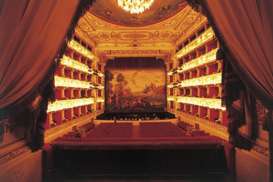 Interiors of an opera house, Teatro Regio di Parma, Parma, Emilia-Romagna, Italy
