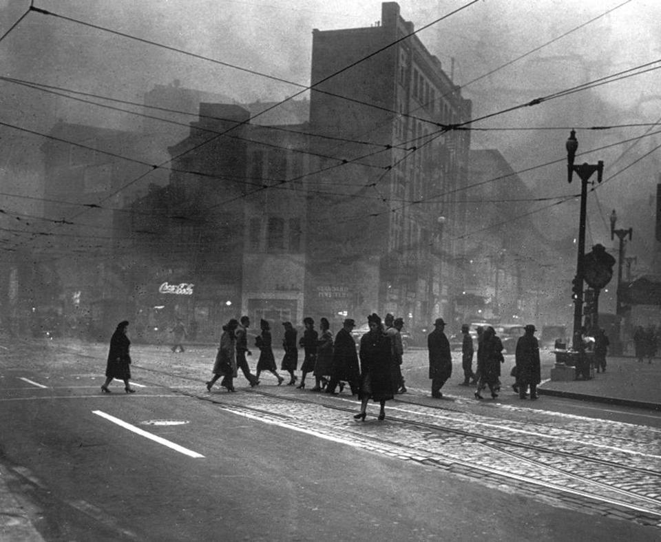 Smoke-filled downtown Pittsburgh in the early 1940s.
