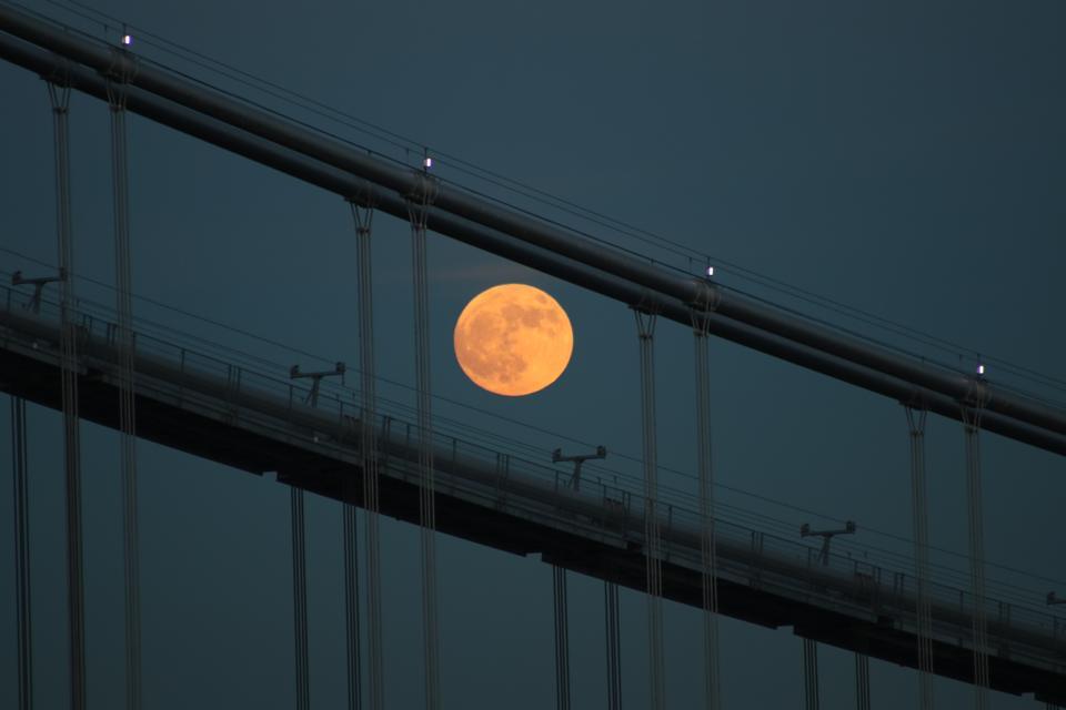 A full ″Beaver Moon″ is seen over Hudson River near George Washington Bridge in New York on November 29, 2020.