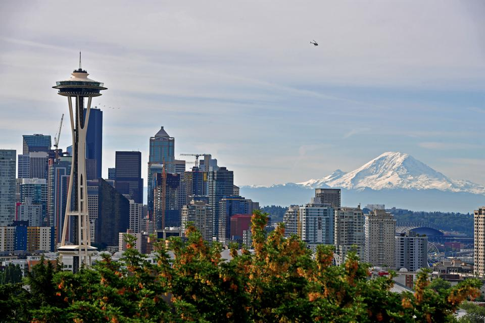A general view of the Seattle Skyline and Mount Rainier.