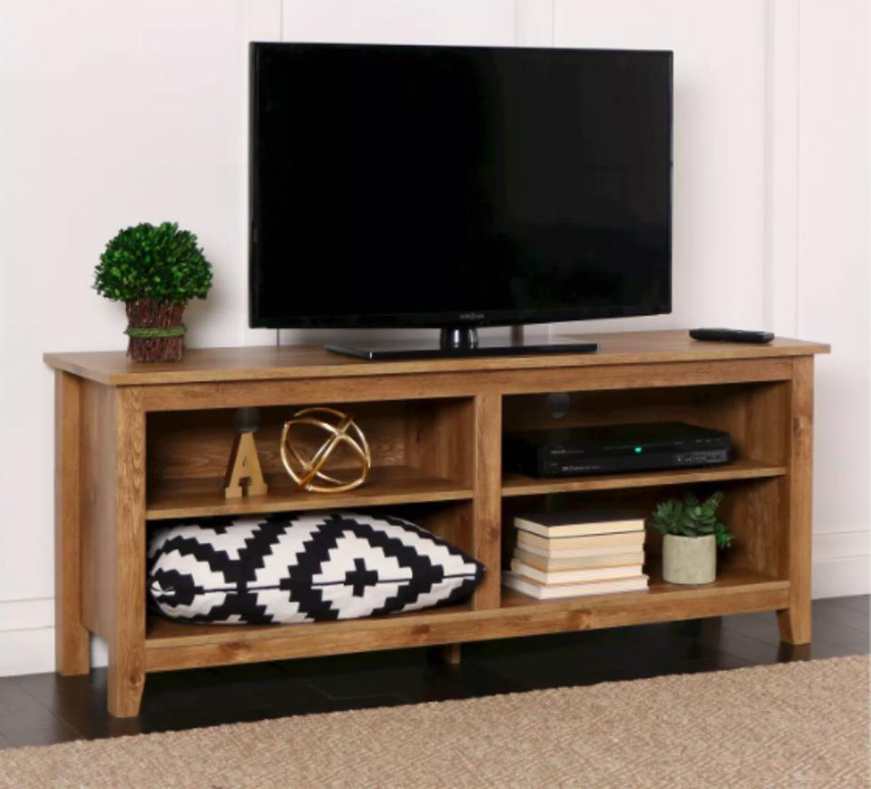 Rustic Weathered Wood TV Stand for TVs up to 65″ - Saracina Home