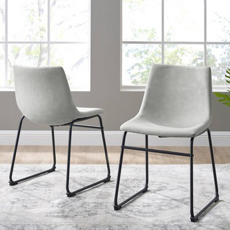 Set of 2 Faux Leather Dining Chairs - Saracina Home