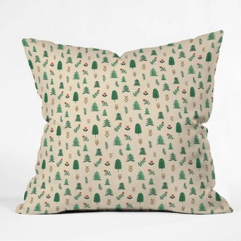 Pimlada Phuapradit Tiny Pine Trees Square Throw Pillow Green - Deny Designs