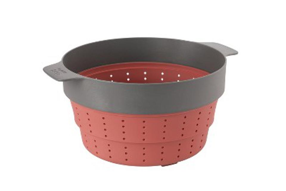 BergHOFF Leo 10″ Silicone 2-in-1 Steamer and Strainer, Pink & Grey