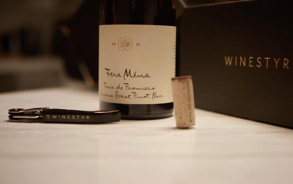A bottle of Feta Mina Pinot Noir from one of Winestyr's small producers.