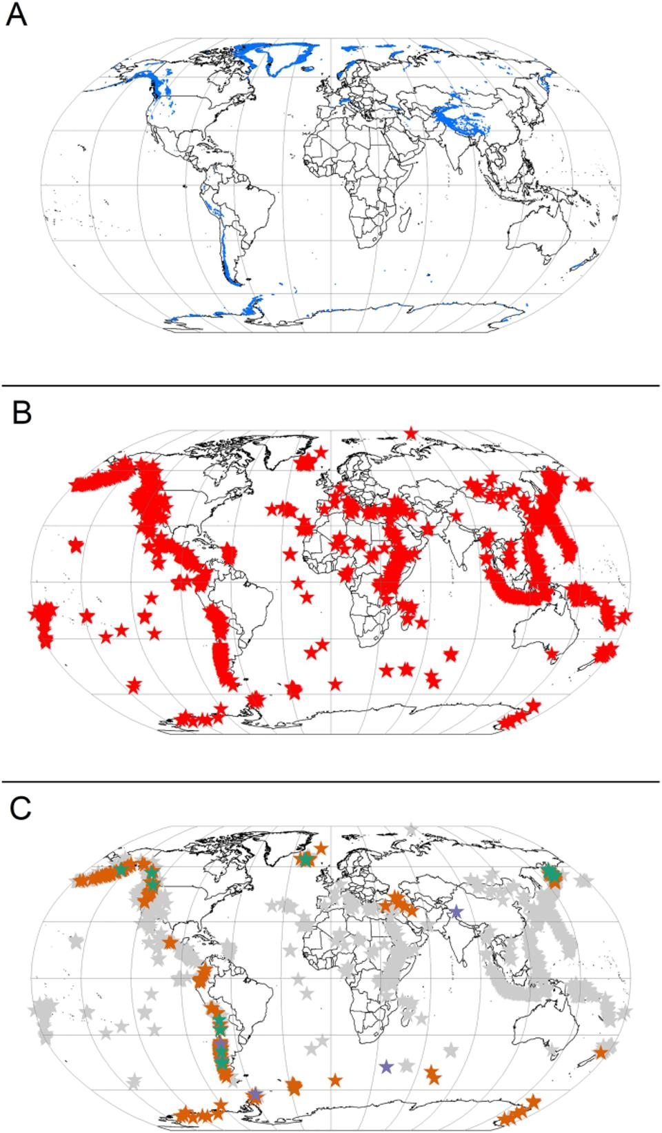 Datasets showing glacierized areas (A), active volcanoes (B), and glacierized volcanoes mapped combining figures A and B above.