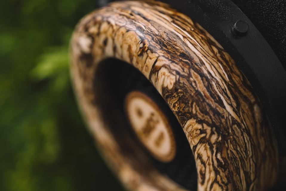 Close up of Hemp Headphones casing made from hemp fibers