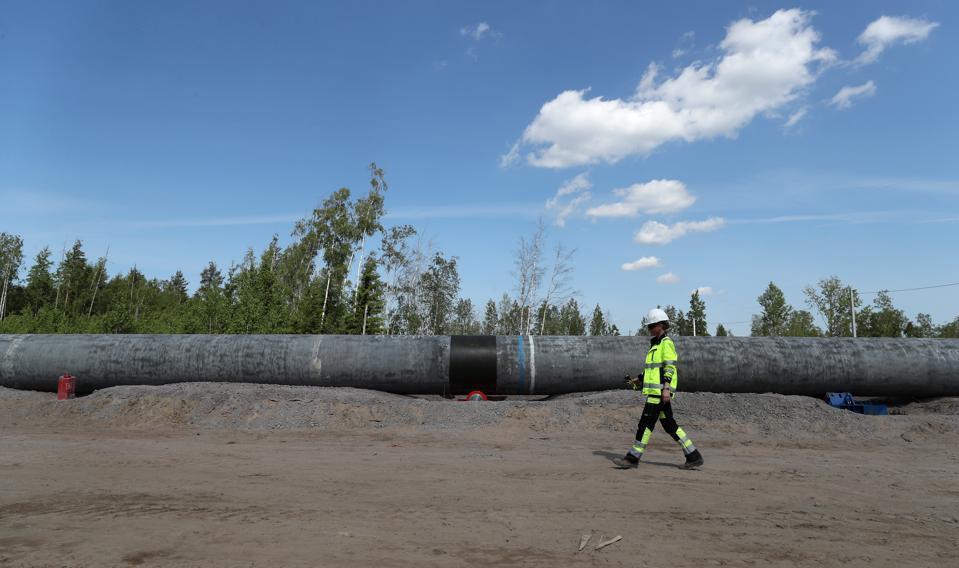 Construction of Nord Stream 2 gas pipeline in Russia's Leningrad Region