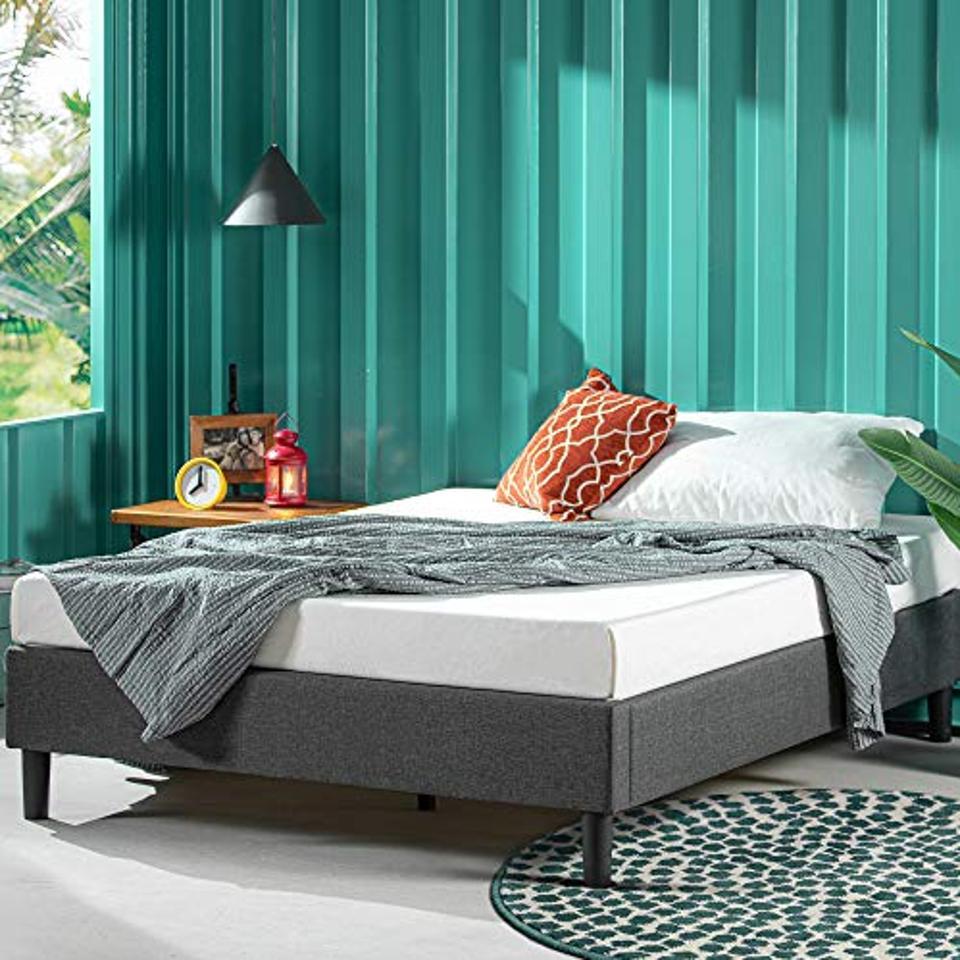 Zinus curtis upholstered platform bed queen