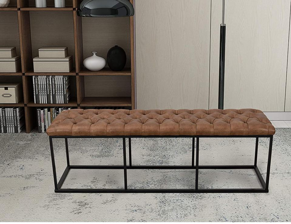 HomePop Faux Leather Button Tufted Bench