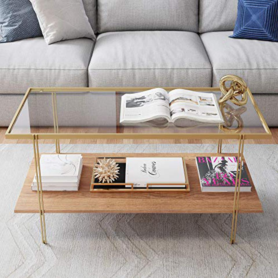 Nathan James Asher Mid-Century Rectangle Coffee Table