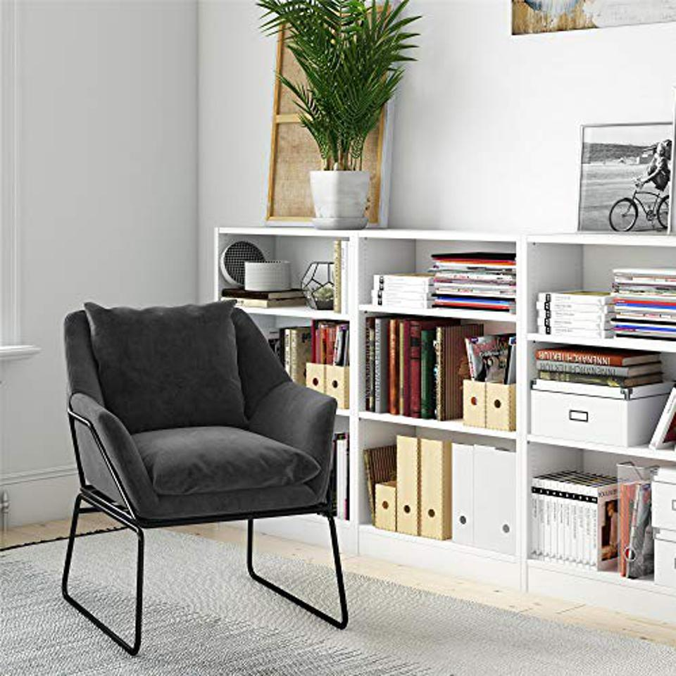 Novogratz Alivia Accent Chair, Gray Velvet