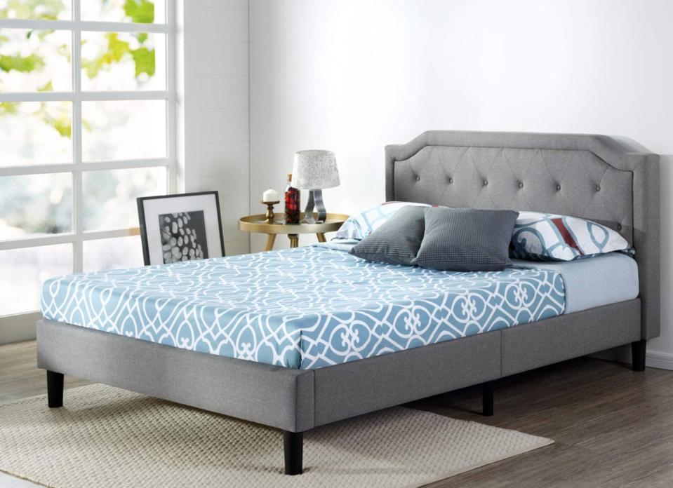 Zinus Kellen Upholstered Scalloped Button Tufted Platform Bed, Queen